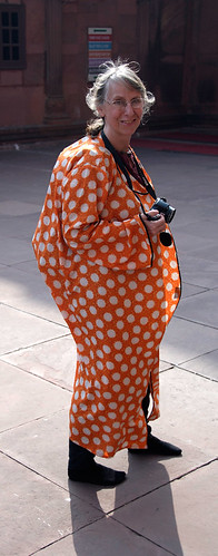 I was given this polka dotted orange robe to cover up when I went into the main Mosque in Delhi, India