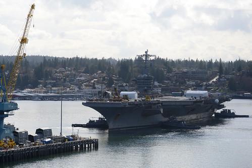 USS Nimitz enters dry dock for planned maintenance