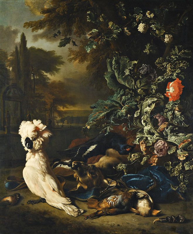 Jan Weenix - Still life of gamebirds, a stag, hunting paraphanalia and flowers, with a White Cockatoo, in a landscape setting
