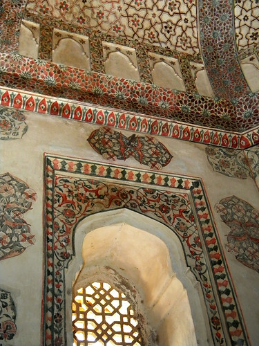 Decorative room in the Amber Fort and Palace near Jaipur in India