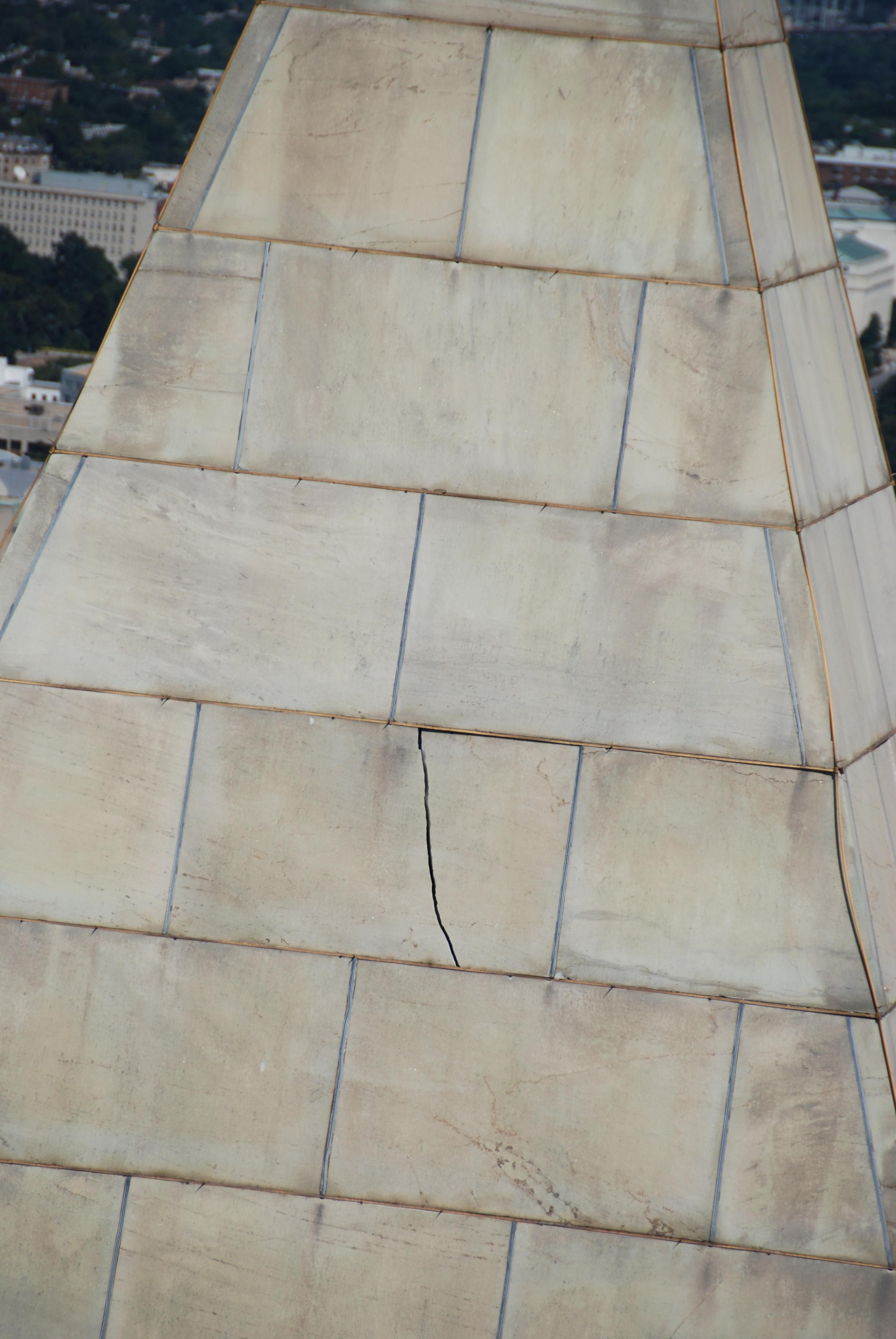 Earthquake damage on the exterior of the Washington Monument. Photo taken on August 23, 2011.