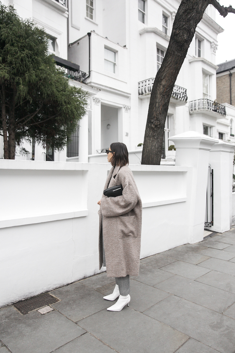 minimal street style winter london white ankle boots balenciaga triangle bag senso raey coat ellery pant turtleneck fashion blogger Instagram (1 of 12)