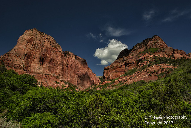 Zion Kolob Canyon Red Rocks and White Cloud