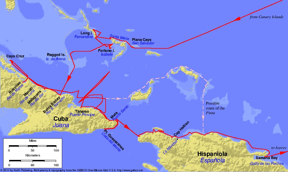 The first voyage of Christopher Columbus, 1492-1493.