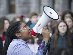 Speaker at a protest for gun reform