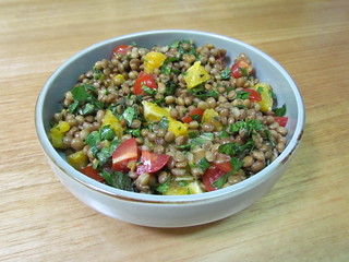Minted Green Salad with Oranges, Lentils, and Tomatoes