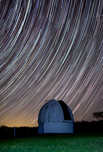 Star trail over old observatory
