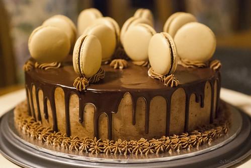 Mocha chocolate cake with espresso macarons II