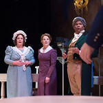 Sense and Sensibility at the Arvada Center - L-R: , Emma Messenger (Mrs. Jennings),Jessica Robblee (Elinor Dashwood), and Abner Genece (Sir John Middleton) Matt Gale Photography 2018