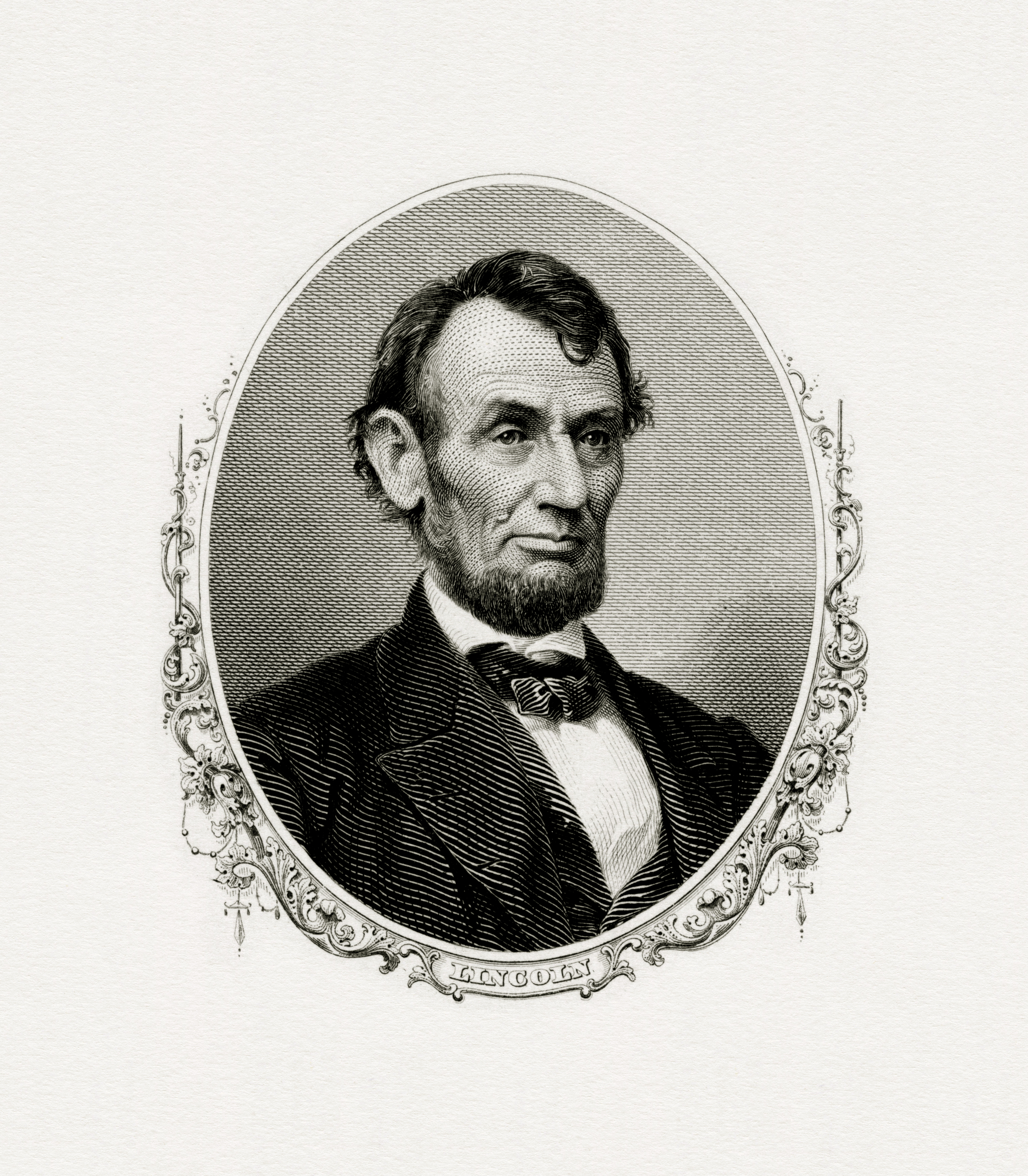 Bureau of Engraving and Printing engraved portrait of President Abraham Lincoln.