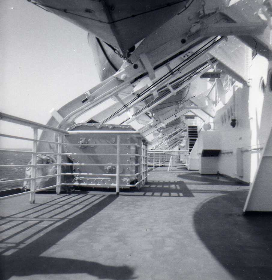 Sun deck of SS United States during eastbound transatlantic crossing in August 1964.