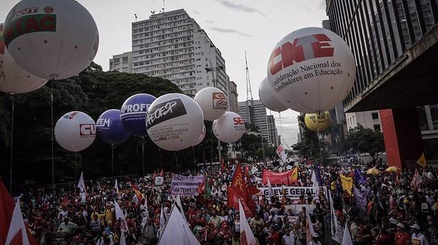 Ato desta segunda-feira (19) foi convocado pelas Frentes Brasil Popular e Povo Sem Medo - Créditos: Mídia Ninja