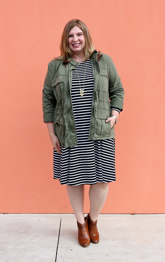 black and white stripe swing dress, olive cargo jacket, cognac booties 7