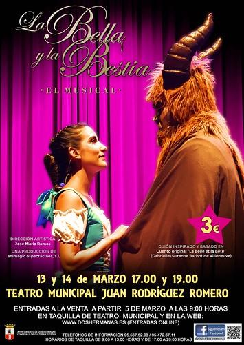 Cartel musical infantil La Bella y la Bestia