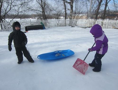 hauling his ice