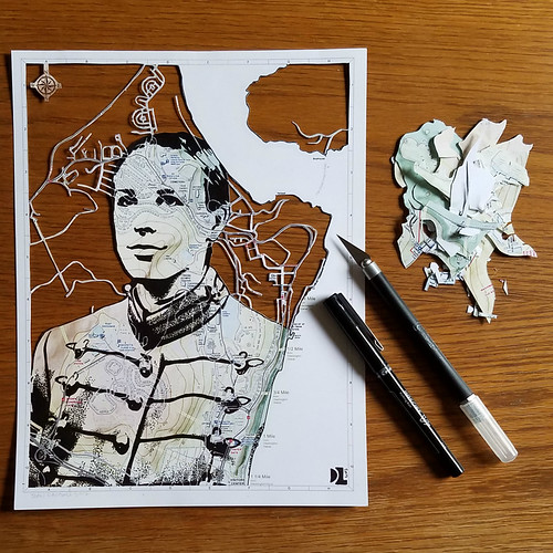 West Point Cadet Papercut Map Portrait - in progress