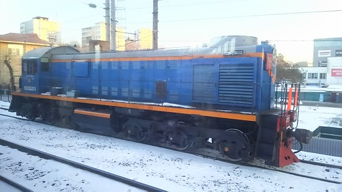 Russian Railways ТЭМ7 series in Vtoraya Rechka.Sta, Vladivostok, Primorsky Krai, Russia /Jan 4, 2018