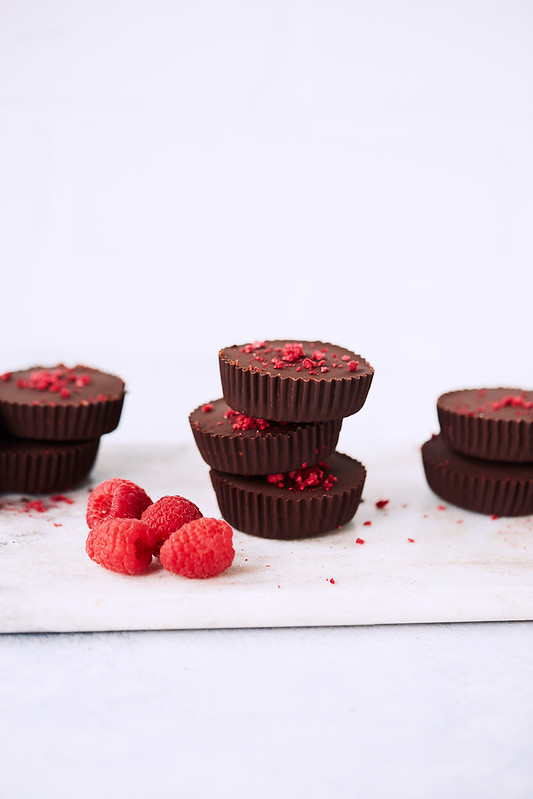 Dark Chocolate Raspberry Coconut Butter Keto Cups {paleo, gluten-free, vegan}