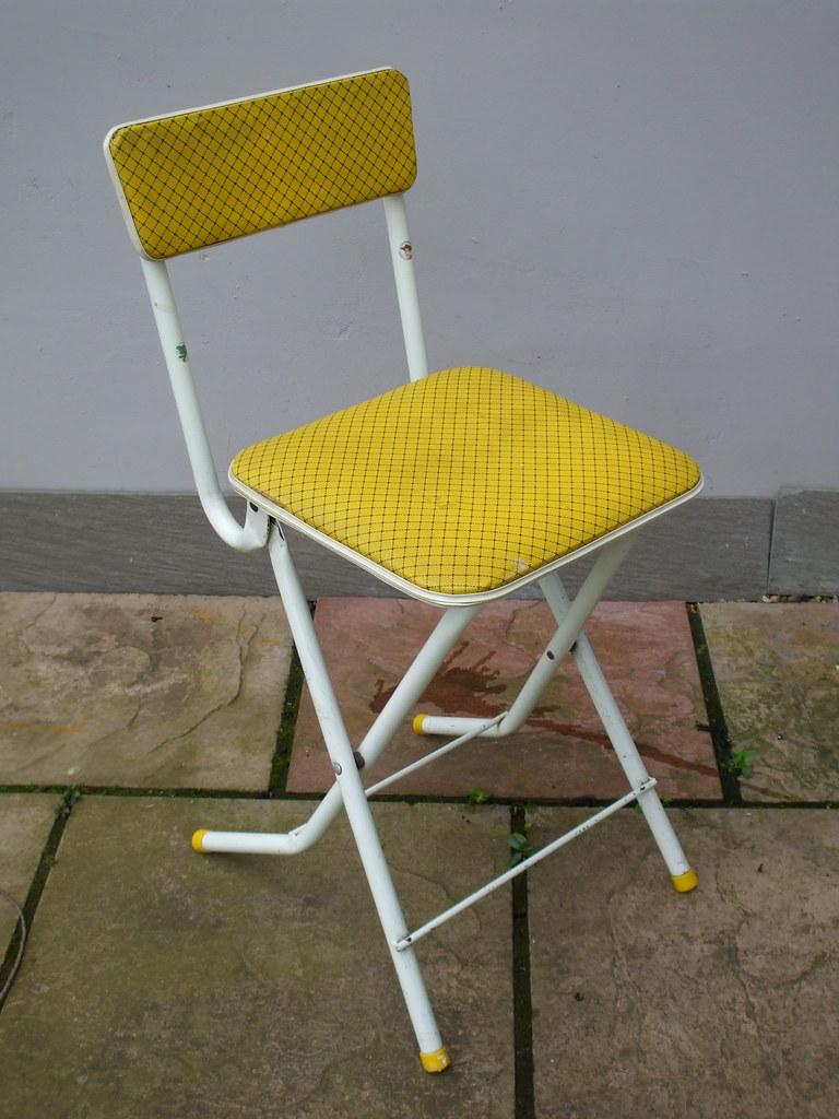 Stupendous 1950S Vintage Bright Yellow Tubular Framed Folding Chair Machost Co Dining Chair Design Ideas Machostcouk