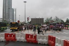 Passengers board buses at the Praça de Ferreira do Amaral bus interchange