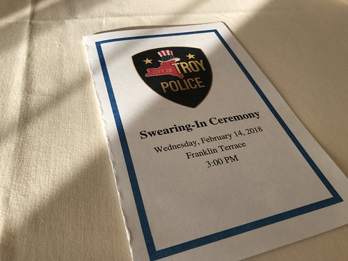 Photo of event program from the Police Department swearing in ceremony