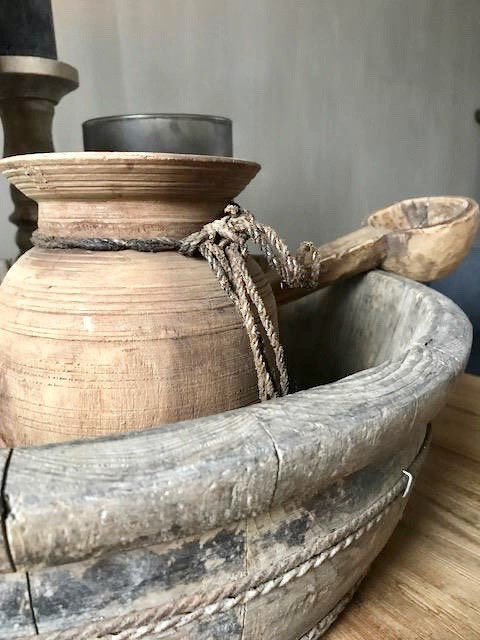 Olijfbak Nepalese vaas houten lepel