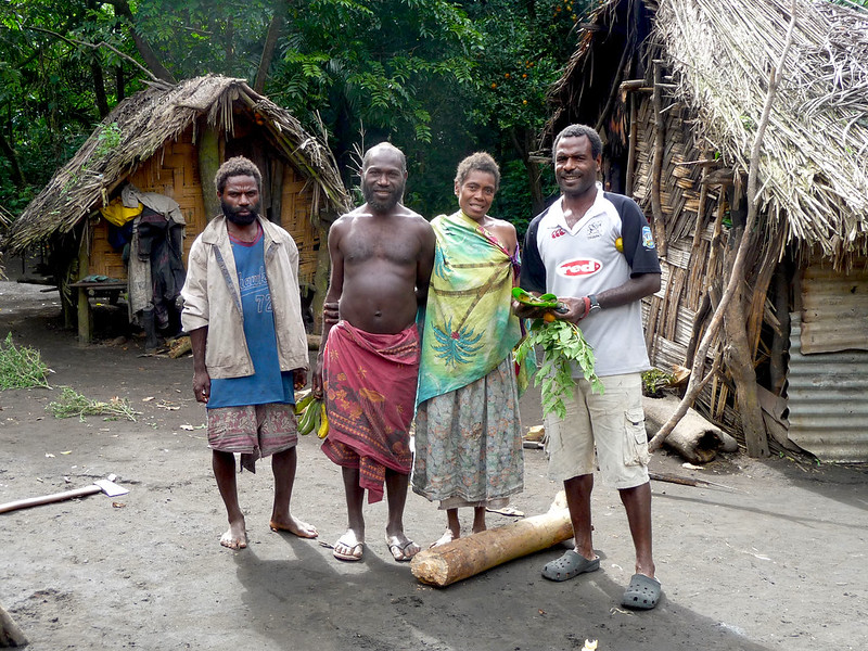 Esso Kapum with a Tribal Chief at a local village in Middlebush, Tanna Island, Vanuatu, both supporting local village tours by experiential travellers  to the island.