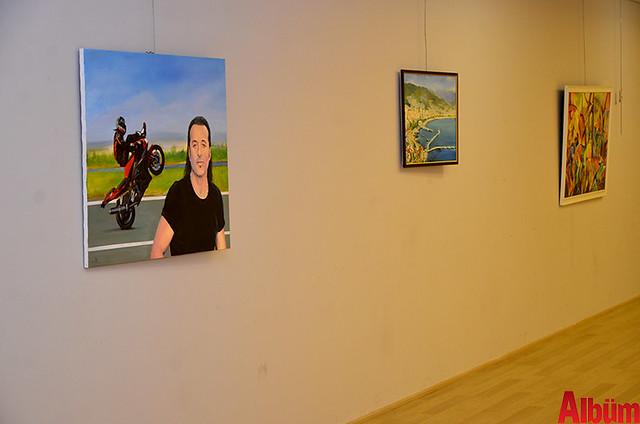 Alanya Cumhuriyet Başsavcısı Yasin Emre, Alanya İlçe Emniyet Müdürlüğü Asayiş Büro Amiri İsa Arı ve Azerbaycanlı Ressam Eldar Zeynalov sergi -8