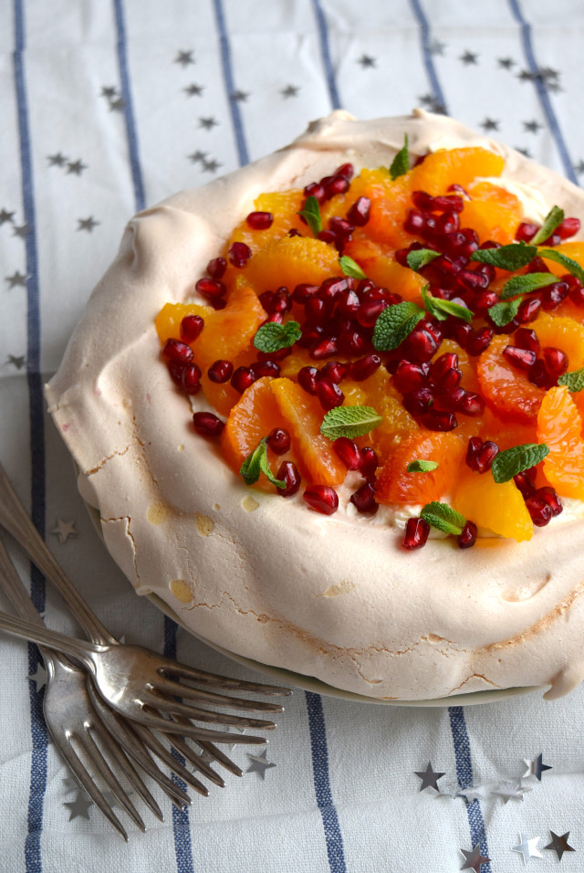 A Winter Citrus Pavlova #pavlova #bloodorange #dessert #pomegranate #mint #meringue