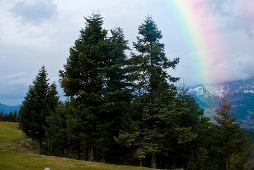 rainbow weather iris mountain greece nature clouds cloudy rain outdoor travel landscape tree forest storm serene serenity hope