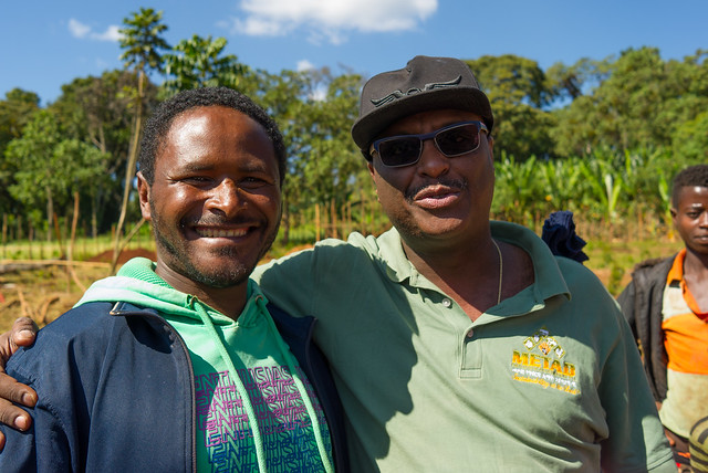 Here we have Etassu and Aman. Etassu is a lead farmer in Bente Nenqa. He is in charge of training 40 farmers. What an Enthusiastic guy.