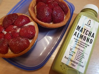 Strawberry Flans from Flour of Life and Matcha Almond Milk from Genki Milk Co at Brisbane Vegan Twilight Markets