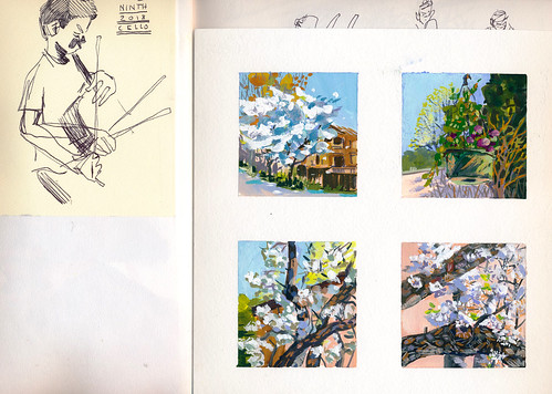 Sketchbook #112: View of a sketchbook spread with mini gouaches.