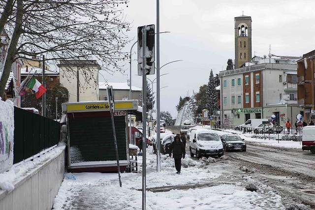 La storta Via Cassia Campanile edicola neve