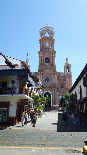 Puerto Vallarta cathedral between colonial buildings