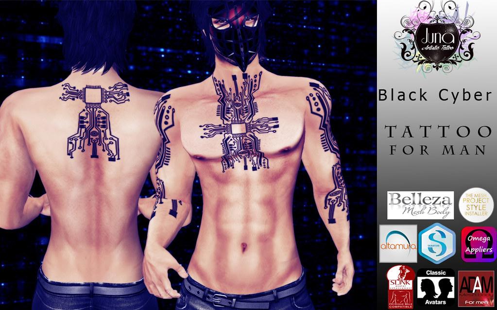Black cyber tattoo man