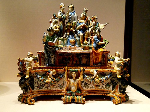 Workshop of the Patanazzi family (active circa 1580-1620),Inkstand with Apollo and the Muses,Maiolica (tin glazed earthenware) 1584