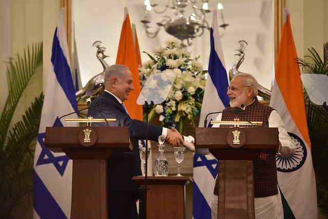 Prime Minister and Prime Minister of Israel, Benjamin Netanyahu, at the Press Statement in New Delhi (January 15, 2018)