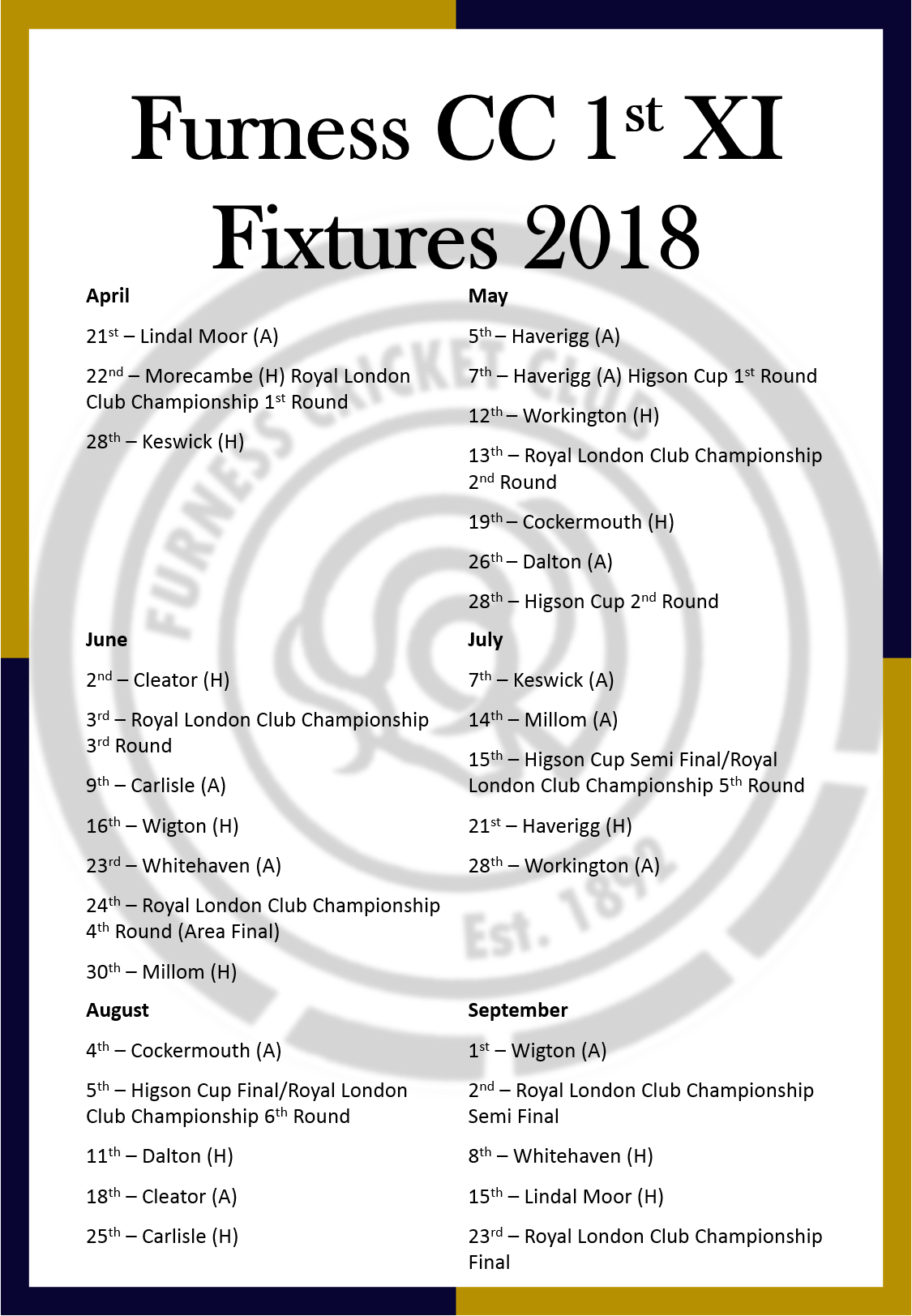 1st XI Fixtures 2018