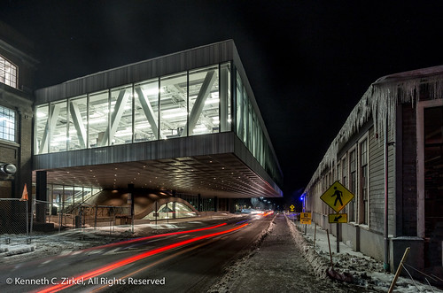 Cornell University at night in winter