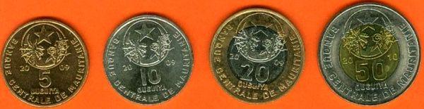 Sada mincí Mauritánia 5-10-20-50 Ouguiya 2009-2010