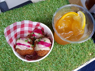 Arancini Balls and Iced Tea from Gatherers at The Brisbane Vegan Markets