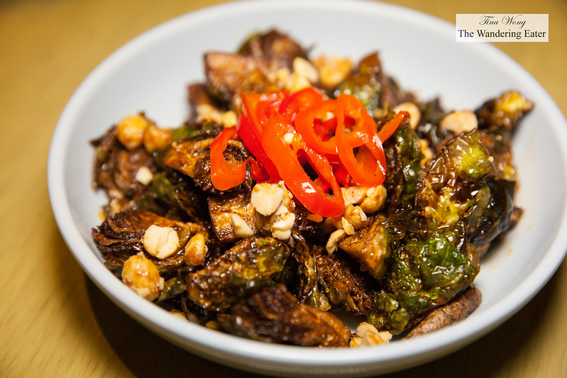 Deep fried brussels sprouts, fish sauce, peanuts, pickled chilies