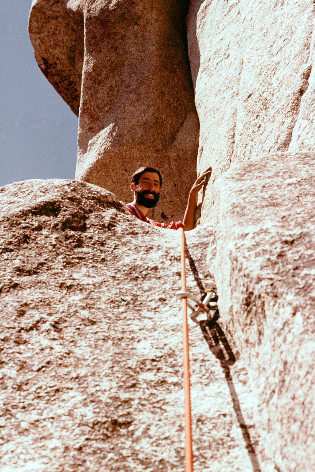 Richard at the first belay, Lost Arrow Spire