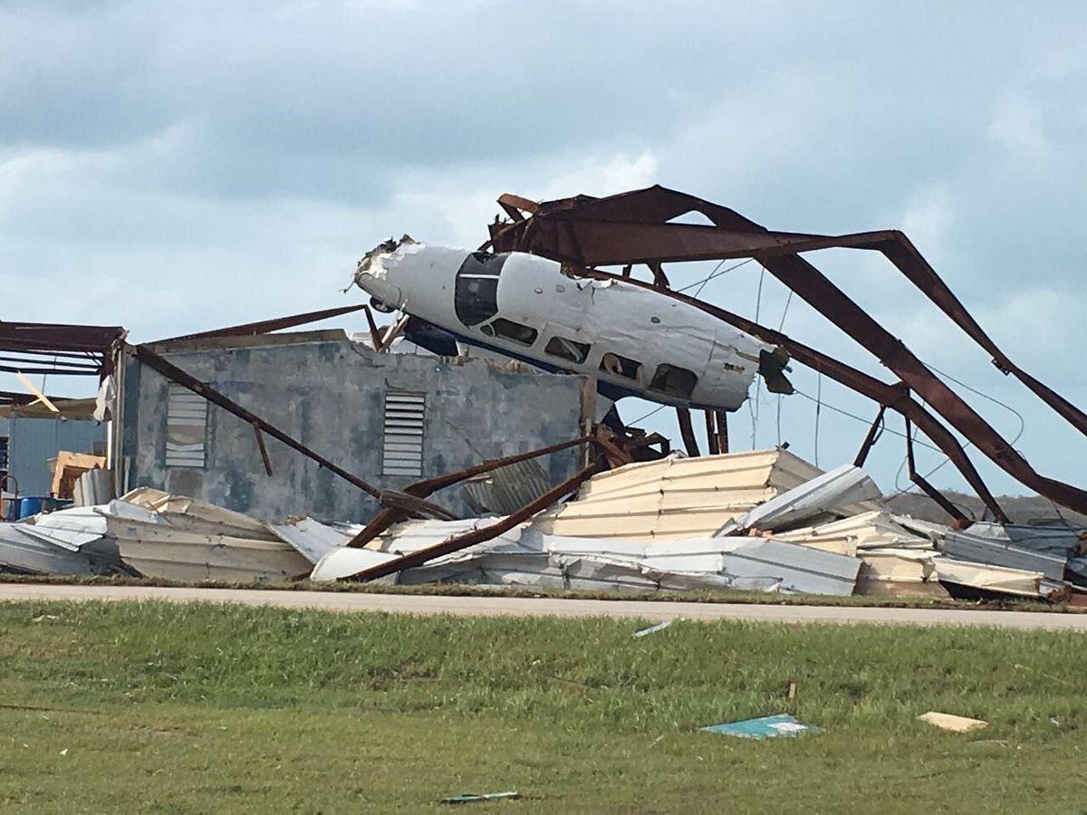 Damage at Tortola's airport following Hurricane Irma in September 2017.