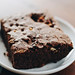 Close up of homemade chocolate brownie by wuestenigel