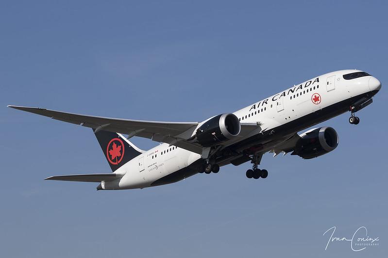 Boeing 787-8 Dreamliner – Air Canada – C-GHPQ – Brussels Airport (BRU EBBR) – 2018 02 24 – Takeoff RWY 07R – 02 – Copyright © 2018 Ivan Coninx