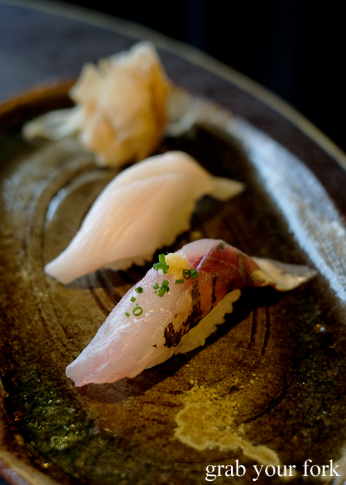 Yellowtail amberjack and kingfish belly nigiri sushi, part of our omakase by Chef Ryuichi Yoshii at Fujisaki by Lotus at Barangaroo in Sydney