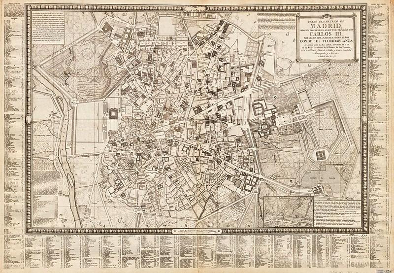 Tomás López de Vargas Machuca (1730-1802) - Plano geométrico de Madrid  dedicado y presentado al rey nuestro Señor Don Carlos III por mano del excelentisimo Señor Conde de Floridablanca (1783)