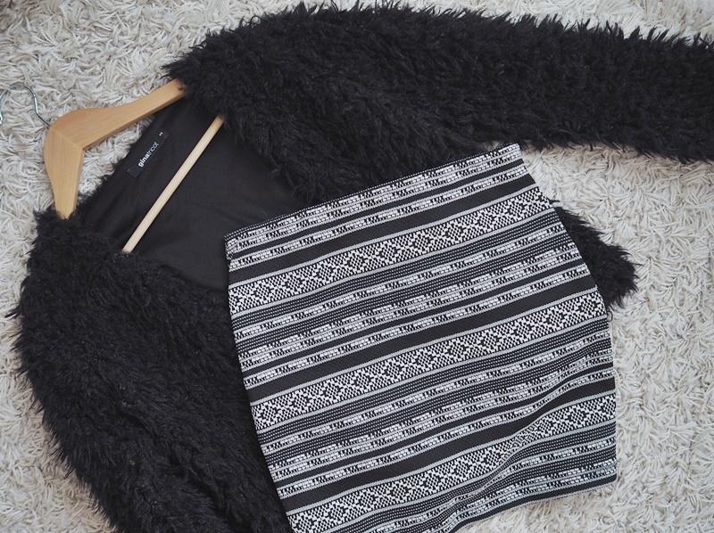 gina tricot pörröneule musta cubus aztec hame